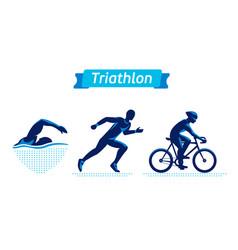Triathlon logos or badges set figures vector