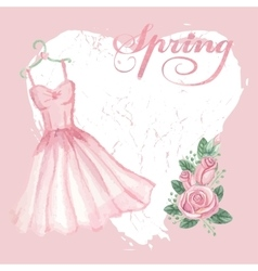 Vintage spring cardwatercolor pink dress rose vector