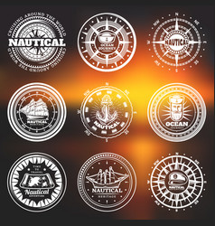 vintage white nautical round labels vector image vector image