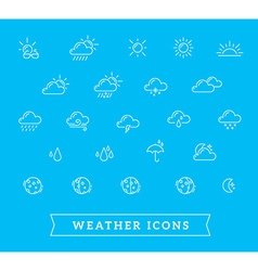 white weather theme icon set on blue back vector image vector image