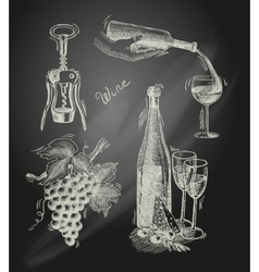 Wine chalkboard decorative set vector