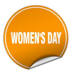 Womens day round orange sticker isolated on white vector