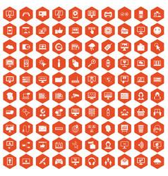 100 internet icons hexagon orange vector image vector image