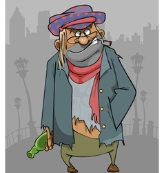 Cartoon homeless man in ragged clothes vector