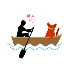 Cat lover boat my kitty lovers of sailing pet and vector