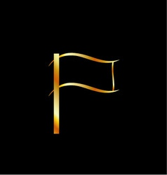 Golden flag vector image