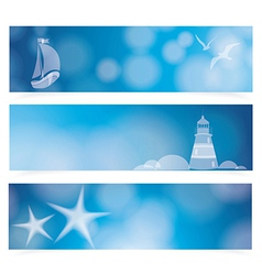 Travel and nautical - blue awesome banners vector