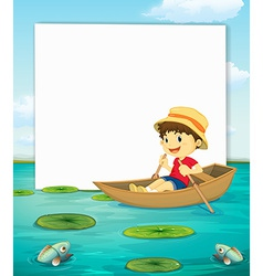 Boy on boat banner vector