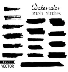 Set of black hand-painted brush strokes vector image