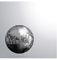 3d silver disco ball and shadow background vector