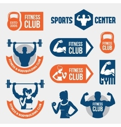 Colored gym labels vector
