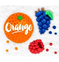 Plasticine fruits orange vector