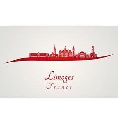 Limoges skyline in red vector