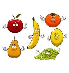 Apple pear banana orange grape and lemon vector image vector image
