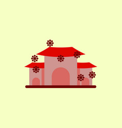 chinese house and snow of vector image vector image