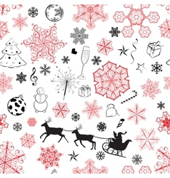 Christmas seamless red and black pattern vector image