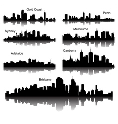 Collection of detailed silhouettes of austr vector