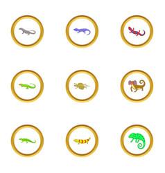 color lizard icons set cartoon style vector image vector image