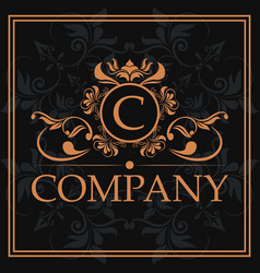 company c monogram crest golden label vector image