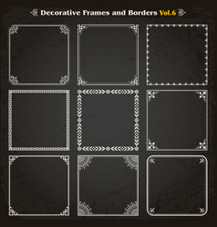 decorative square frames and borders set 6 vector image vector image