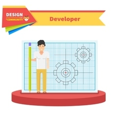 Developer man flat design concept vector