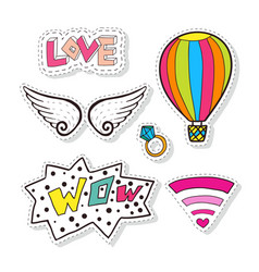 fashion stickers elements with air balloon wings vector image vector image