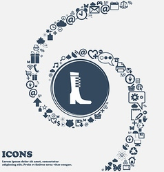 Female fall and winter shoe boot icon in the vector