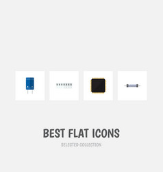 Flat icon electronics set of cpu resistor vector