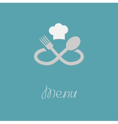 Fork spoon infinity sign and chef hat menu card vector