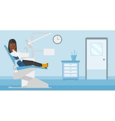 Frightened patient in dental chair vector