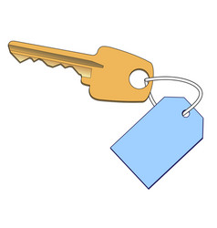 gold key with a label vector image vector image