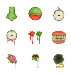 Halloween zombie sticker icons set cartoon style vector