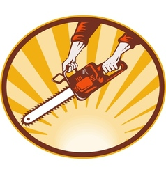Hand holding chainsaw vector