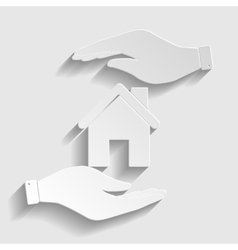 Home silhouette Paper style icon vector image