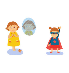 little girl dressing wearing superhero costume vector image vector image