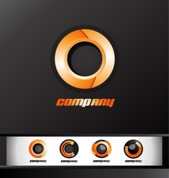 Orange circle corporate business 3d logo icon vector