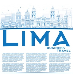 Outline Lima Skyline with Blue Buildings vector image