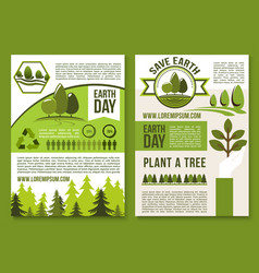 Posters or brochure for earth day ecology vector