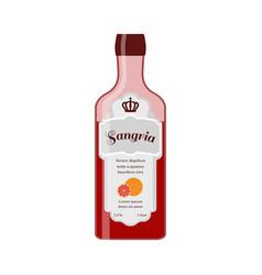 sangria bottle spanish wine with orange vector image vector image