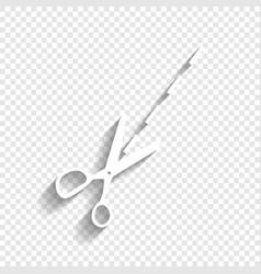 Scissors sign white icon vector