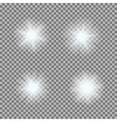 set of glowing light bursts on grey white vector image vector image