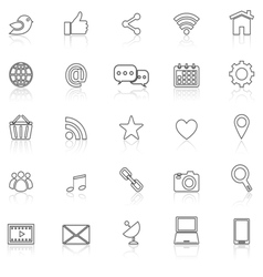 Social media line icons with reflect on white vector