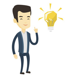 student pointing at idea bulb vector image