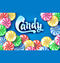 Sweet lollipop candy colorful background vector