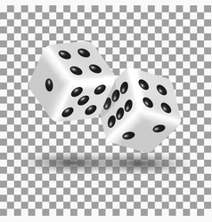 White dice in 3d style vector