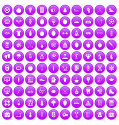 100 well person icons set purple vector