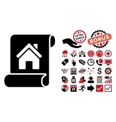 Realty description roll flat icon with vector