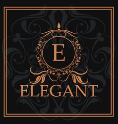Elegant e gold calligraphic heraldic element vector