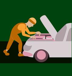 mechanic repairs car motor vector image