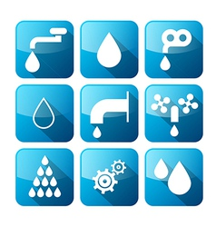 Water buttons - symbols - icons set vector
